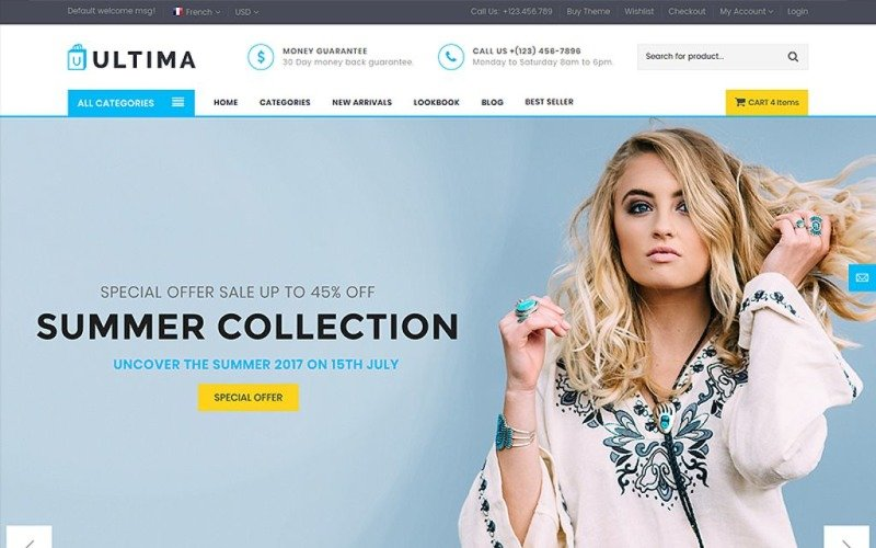 Ultima - Multipage Fashion Store Website Template