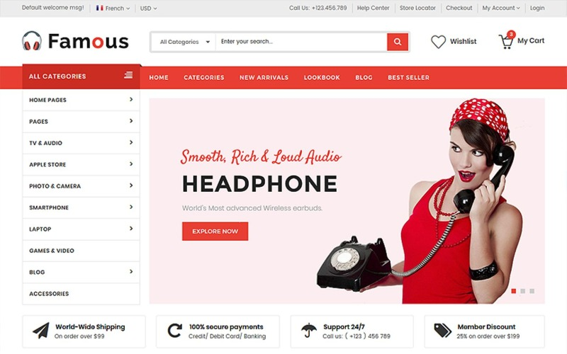 Famous - Electronics Store HTML5 Website template