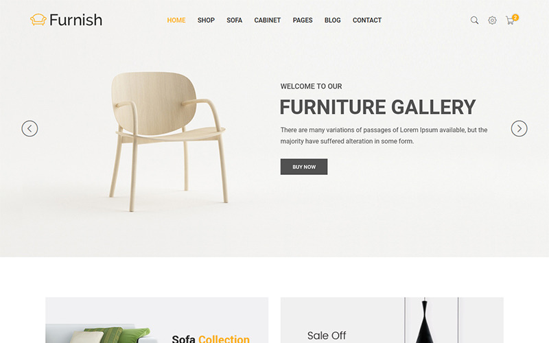 Furnish - minimalistická šablona webových stránek nábytku