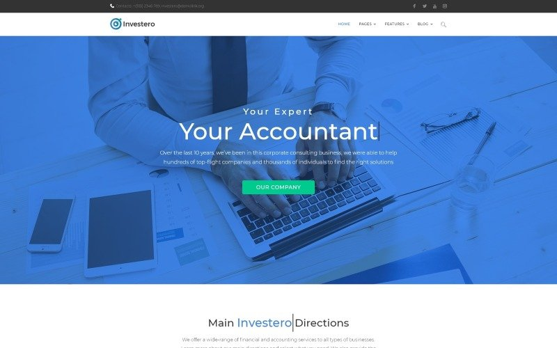 Investero - Účetní WordPress motiv reagující na experty
