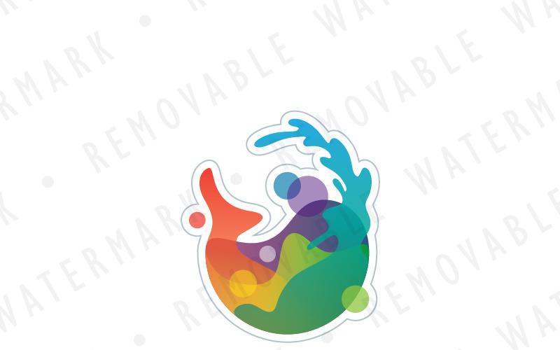 Красочный шаблон логотипа искусства кита