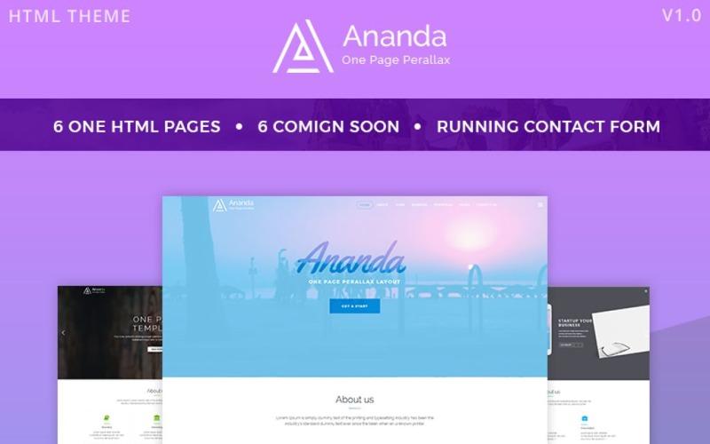 Ananda - Tek Sayfa Paralaks Web Sitesi Şablonu
