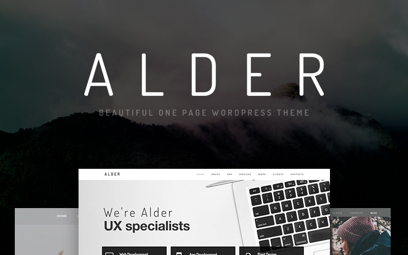 Alder - Modern OnePage WordPress Theme