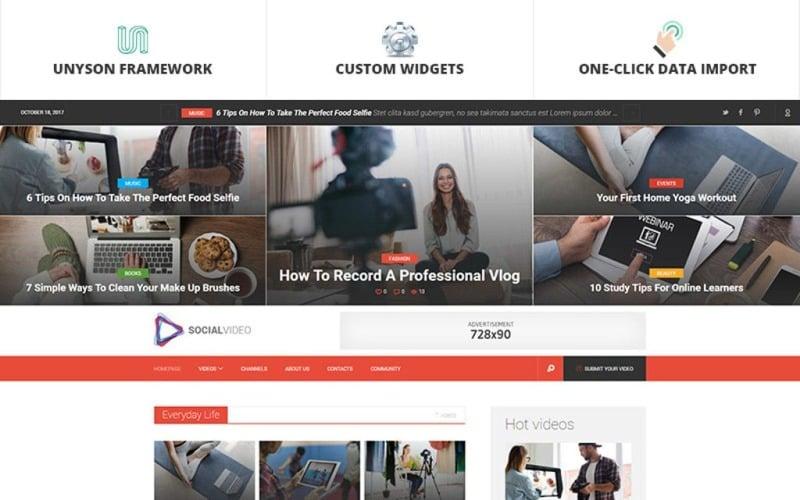 SocialVideo - WordPress тема для вирусного видео-журнала Youtube и Vimeo