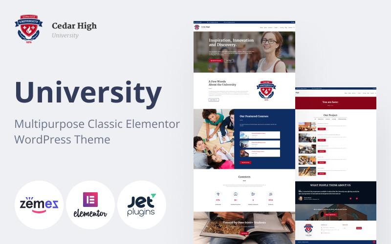 Cedar High - Tema WordPress da Universidade