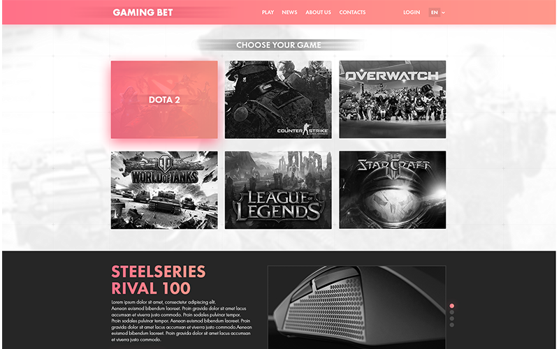 Gaming Bet PSD sablon
