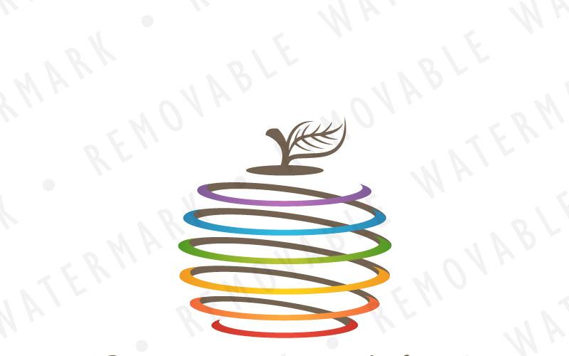 Шаблон логотипа спиральное яблоко