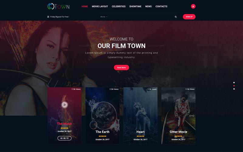 MovieTown - PSD шаблон для фильмов и музыки