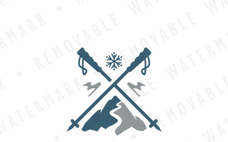 Шаблон логотипа горнолыжного склона