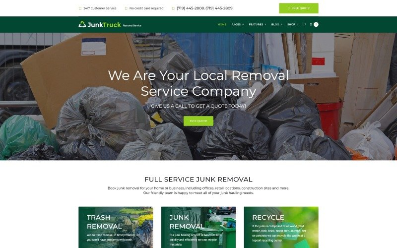 JunkTruck - Thème WordPress du service de suppression des ordures