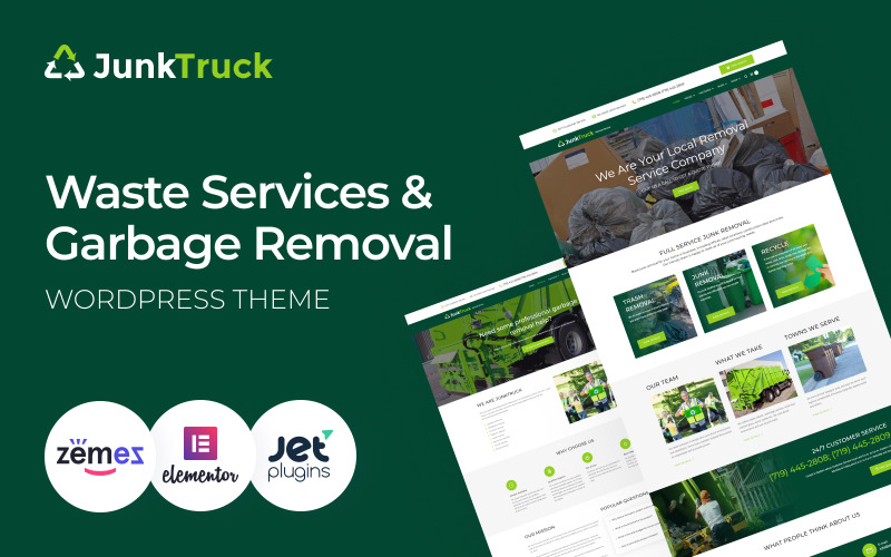 JunkTruck - WordPress тема службы отходов и удаления мусора