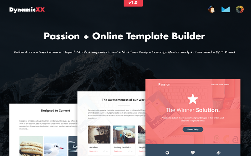 Passion HTML Email + Šablona zpravodaje Online Builder