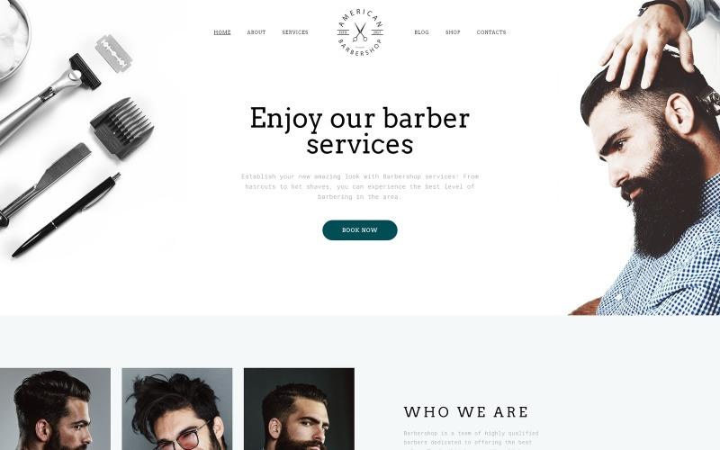 Plantilla de sitio web adaptable de varias páginas para peluquería