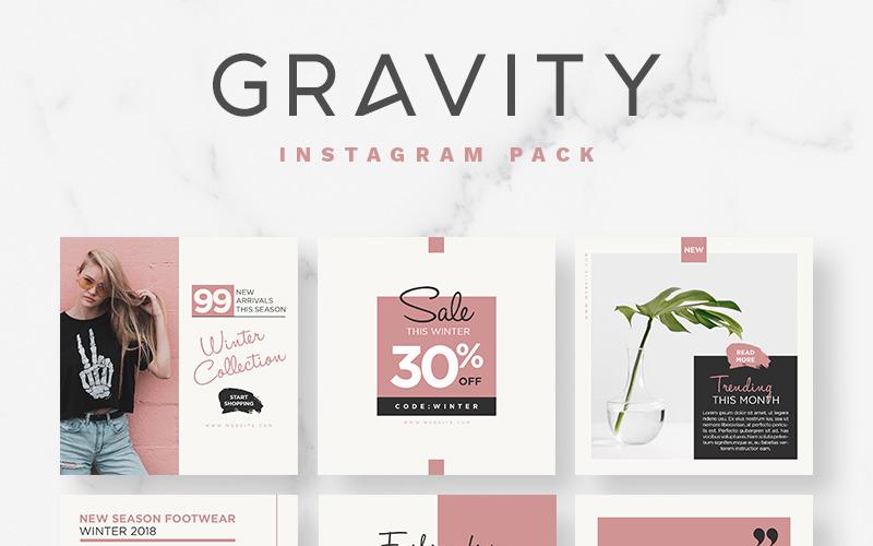 Plantilla para redes sociales de Gravity Instagram Pack
