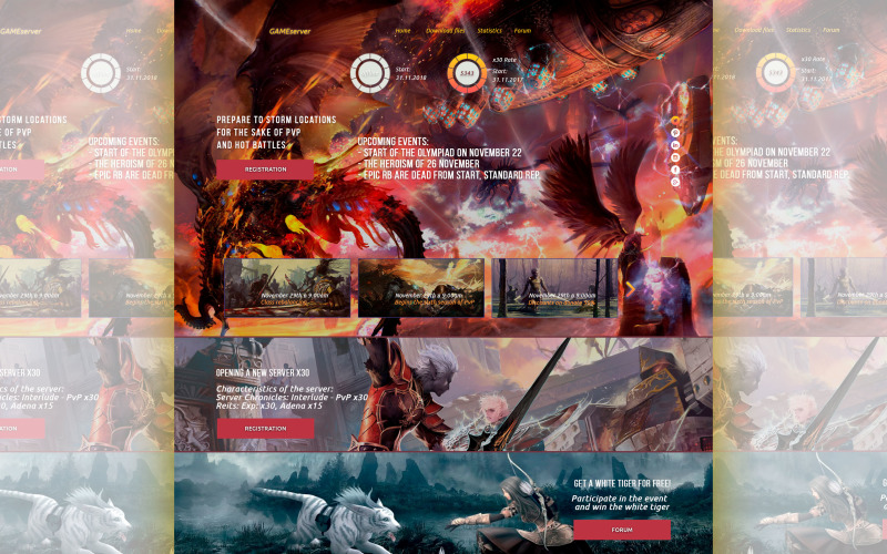 Game server L2-wow-aion PSD-sjabloon