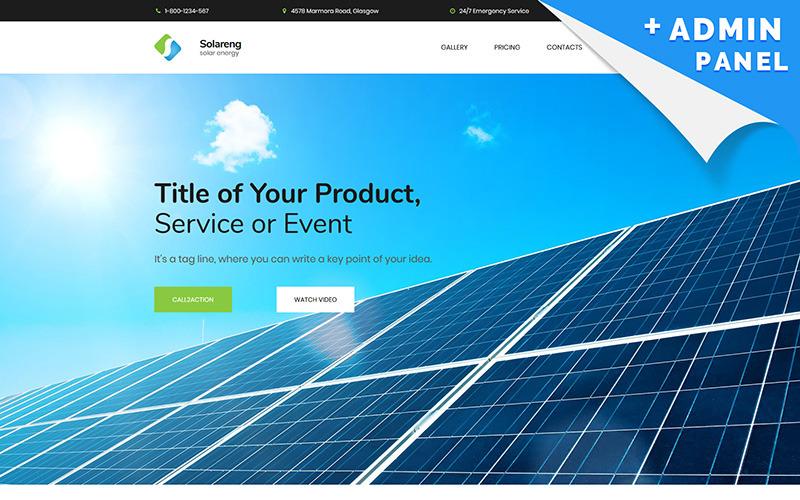 Güneş Enerjisi MotoCMS 3 Açılış Sayfası Şablonu