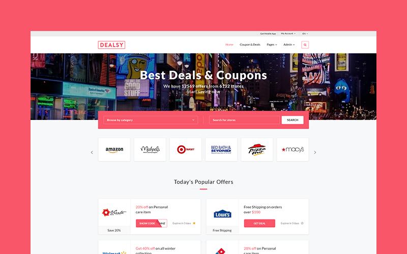 Dealsy - Deals & Coupons Theme + Admin Website Template