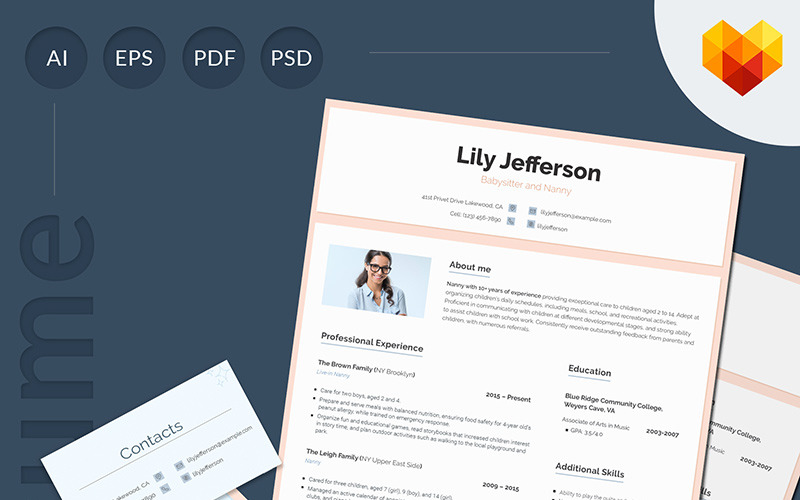 Lily Jefferson Babysitter And Nanny Resume Template 66441