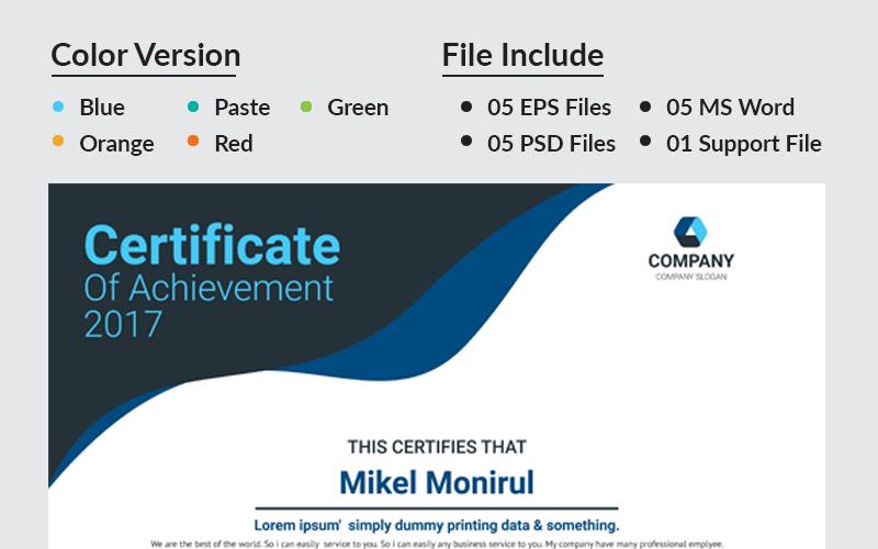 Premere Modello di certificato