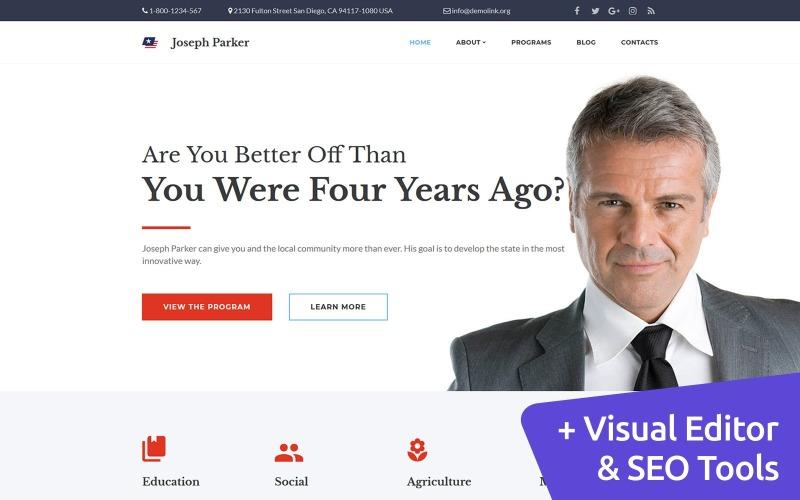 Джозеф Паркер - политический кандидат в шаблон Moto CMS 3