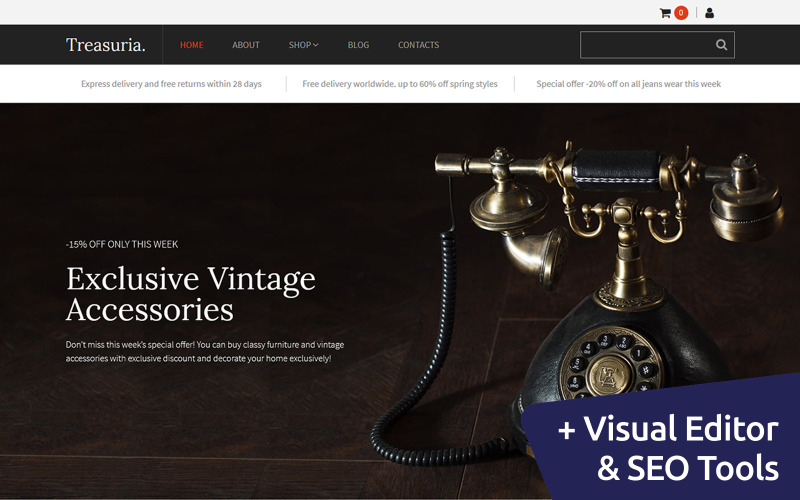 Treasuria - Antique Shop MotoCMS Ecommerce Template