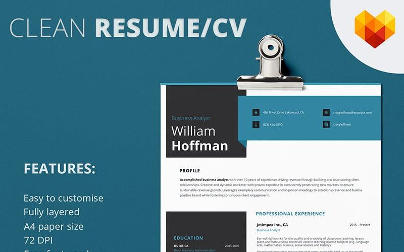 Уильям Хоффман - шаблон резюме бизнес-аналитика