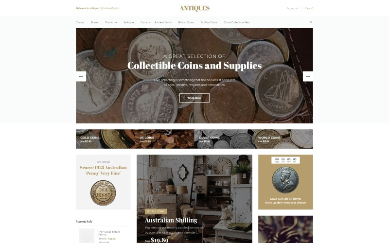 Antiques - Collectible Coins & Supplies OpenCart Template