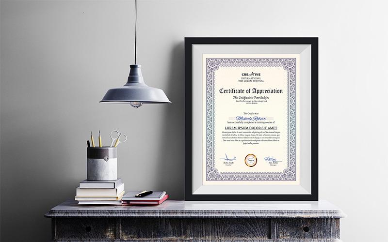 Modello di certificato multiuso per parole aziendali e moderne