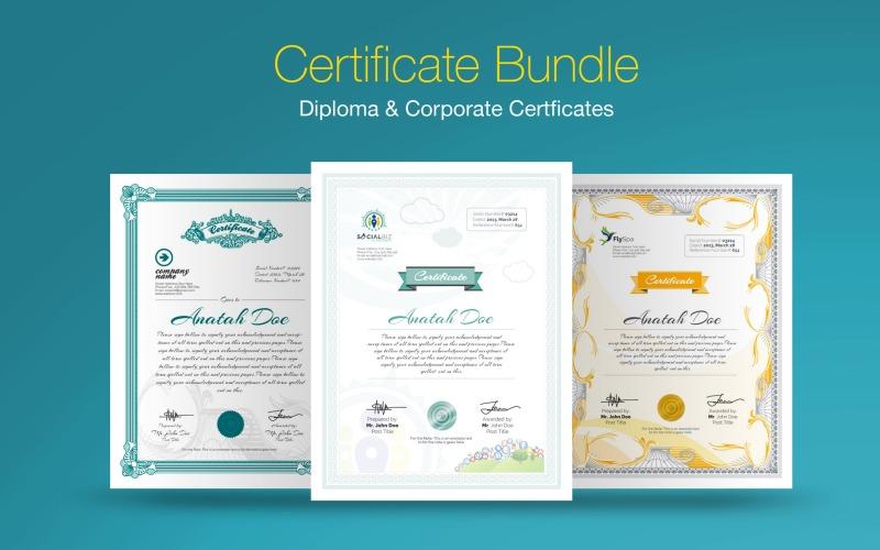 Szablon certyfikatu pakietu certyfikatu dyplomu