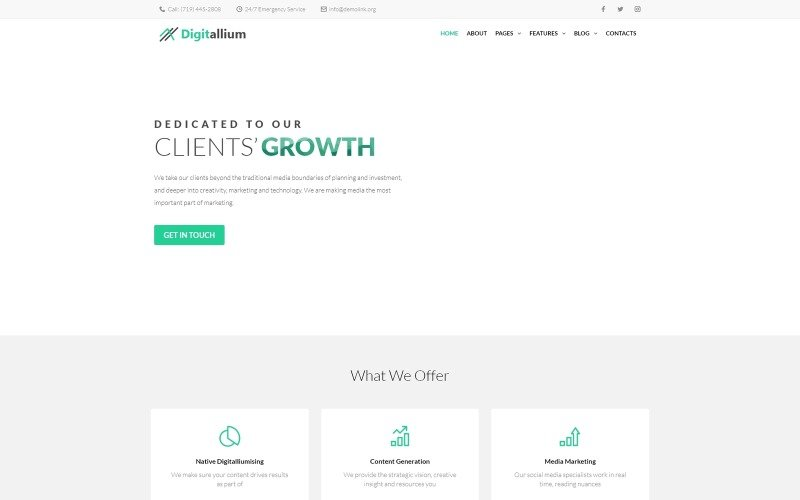 Digitalium - Marketing Agency WordPress Elementor Theme