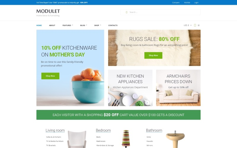 Modulet Home Decor & Template Template WooCommerce Theme