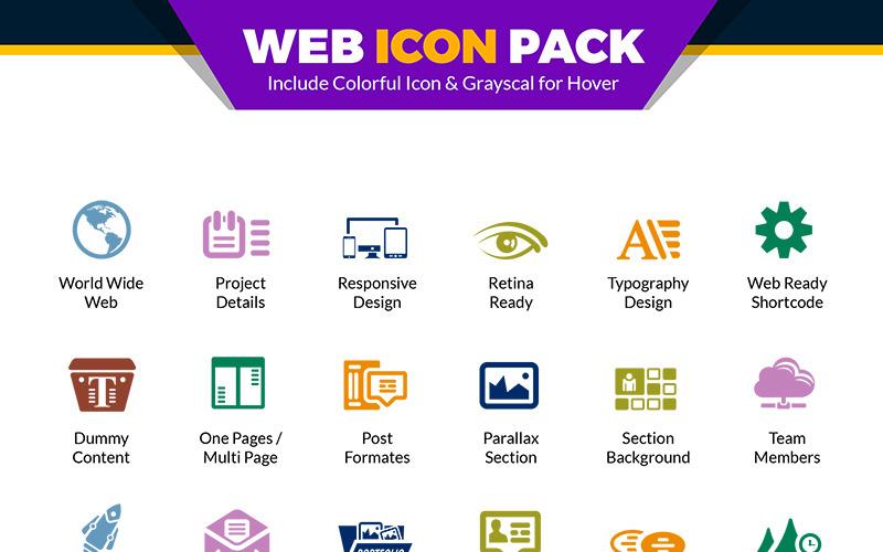 Paquete web | Vector de sitio web para agencia o empresa de diseño y desarrollo web | Conjunto de iconos de uso del sitio web