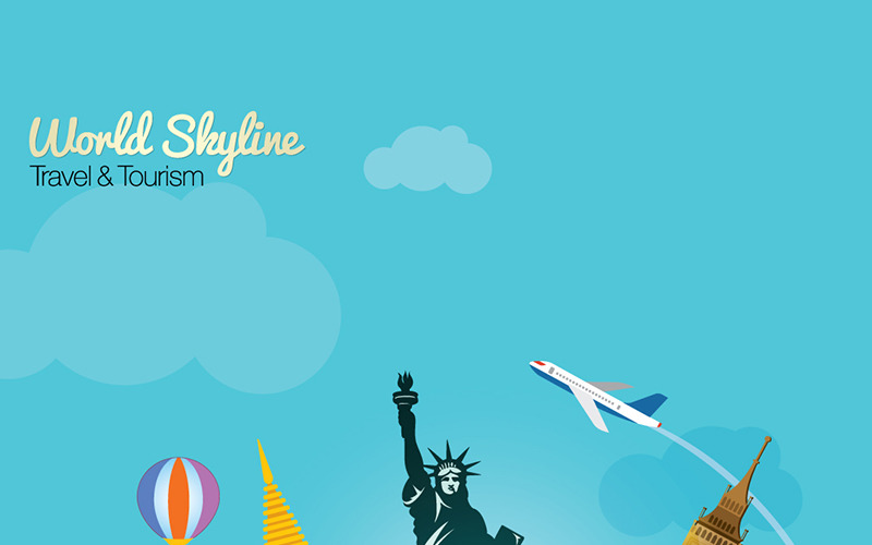 Viajes y turismo del horizonte mundial con globo - Ilustración
