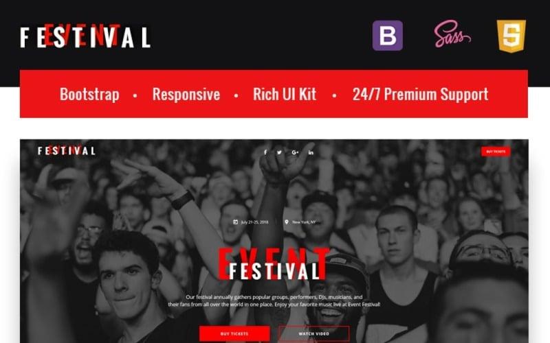 Festivalevenemang - Responsiv HTML5-målsidesmall