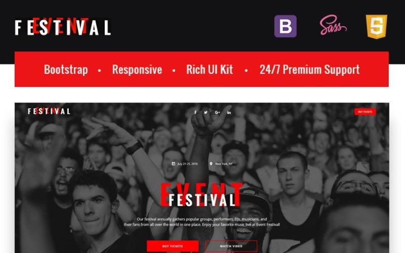 Festivalová událost - responzivní šablona vstupní stránky HTML5