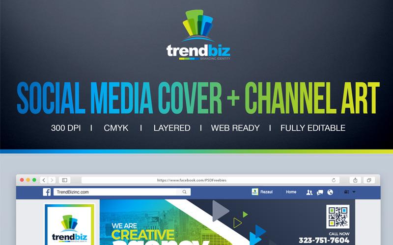 Portada para empresas corporativas: portada de la línea de tiempo de Facebook, portada de Twitter, plantilla de redes sociales de canal de YouTube