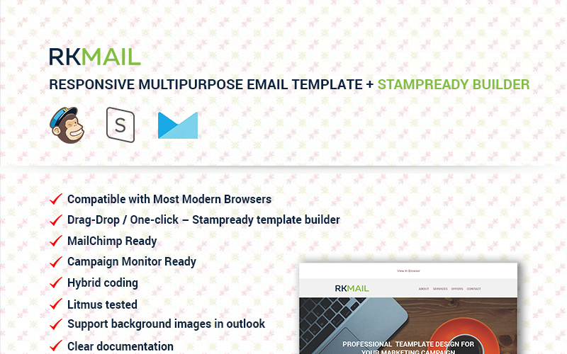 RKMail - Responsive Multipurpose + Stampready Builder Newsletter Template