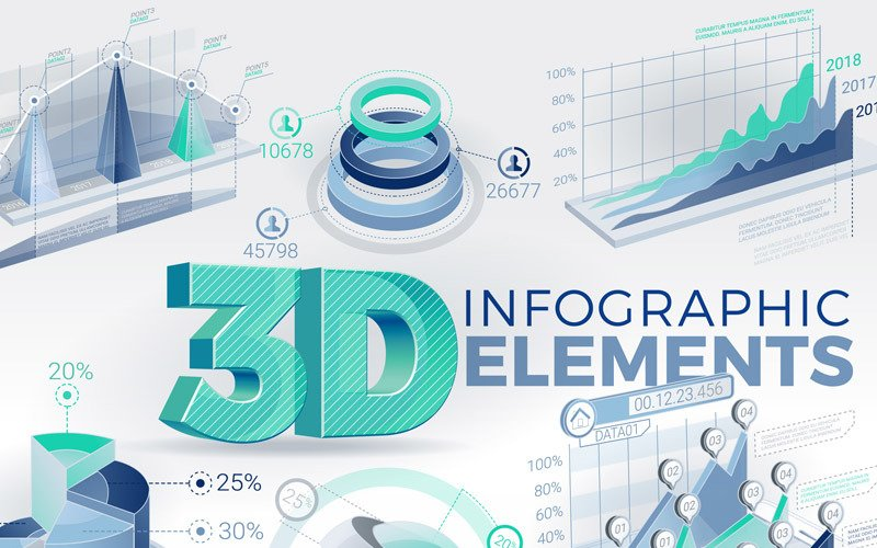 3D Infographic elemek After Effects Intro