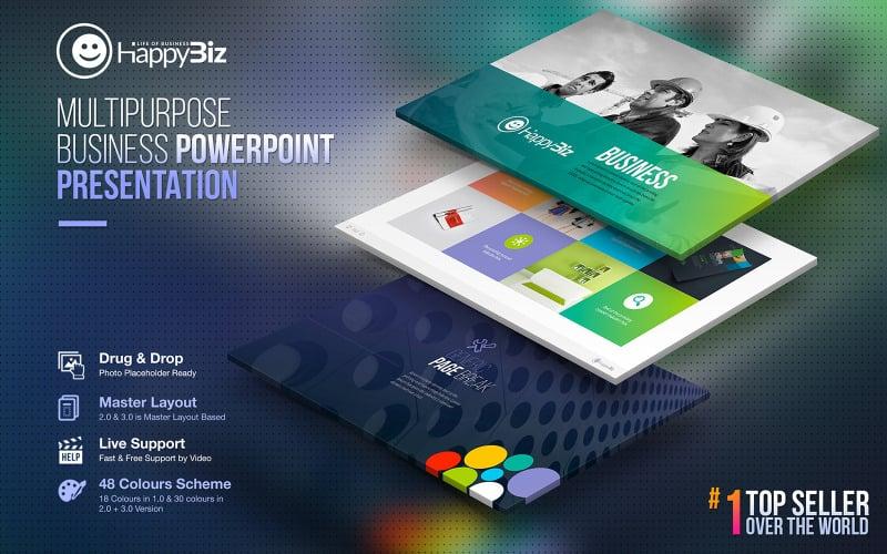 HappyBiz   Biznes Infografika Marketing Szablon PowerPoint