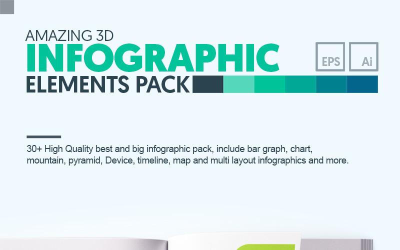 Пакет 3D Business | 35+ Вектор AI, EPS Реалистичный набор инфографики ручной работы | Мгновенная загрузка | Элементы цифрового файла