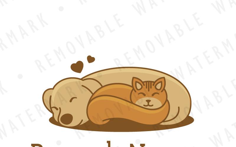 Шаблон логотипа дружбы кошек и собак