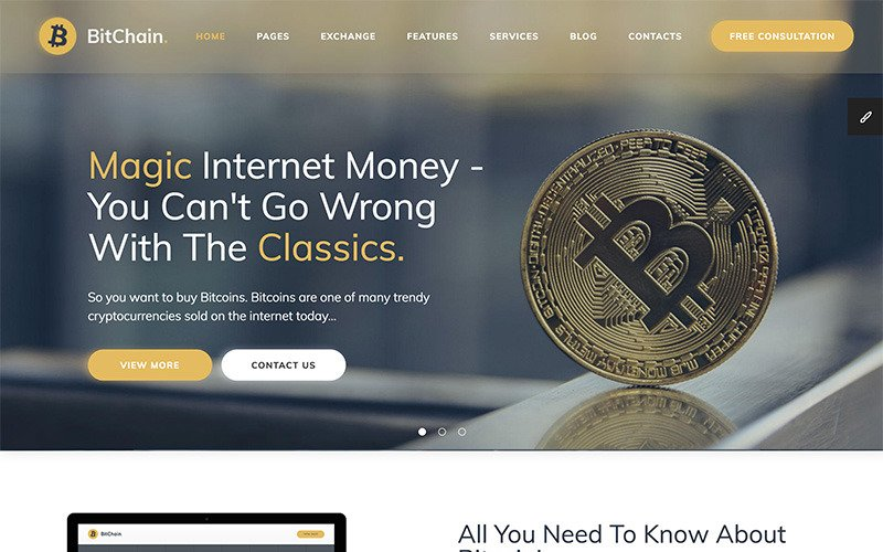 Bitchain - Crypto Currency Exchange and Mining Website Template
