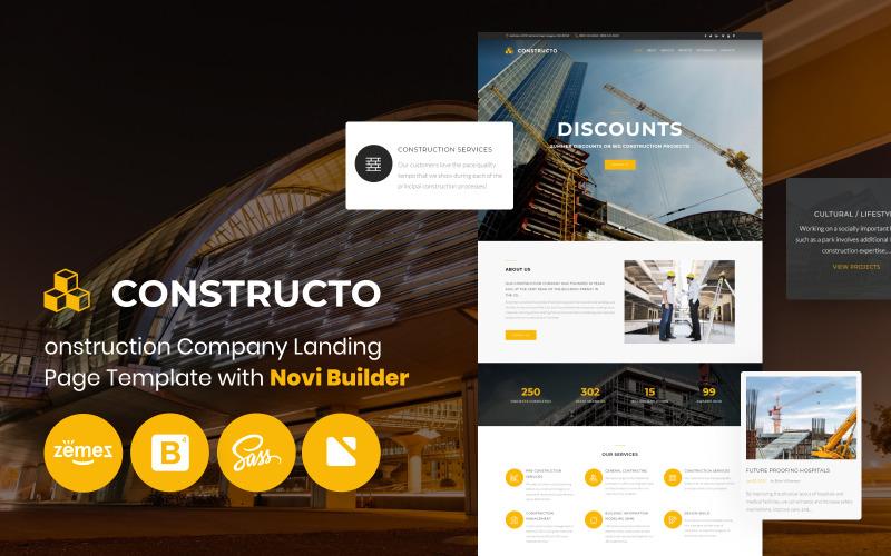 Constructo - Construction Company med målsida för Novi Builder