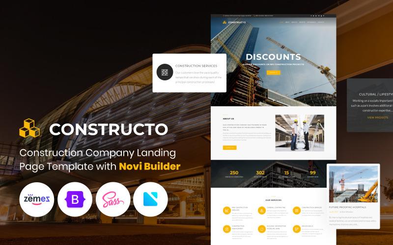 Constructo - építőipari vállalat Novi Builder nyitóoldalsablonnal