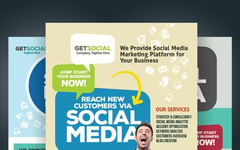 Modello PSD per volantini di social media marketing