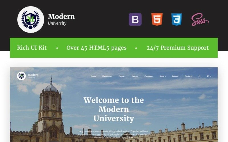 Modern University - University or High-School Modelo de site HTML responsivo com várias páginas