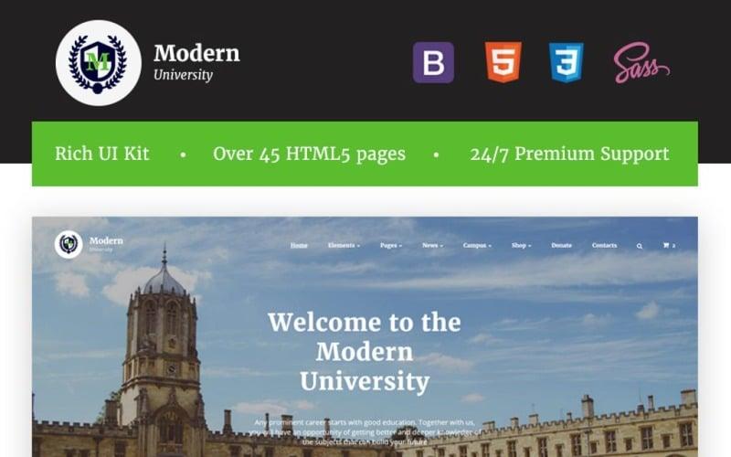 Nowoczesny uniwersytet - wielostronicowy, wielostronicowy szablon strony internetowej HTML