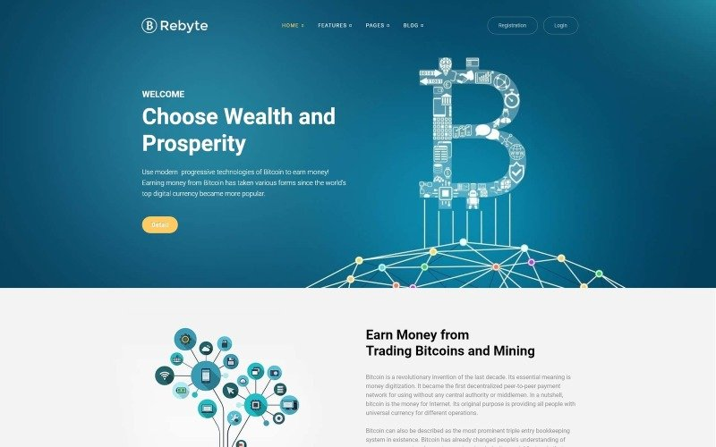 Rebyte Bitcoin Templates WordPress Theme
