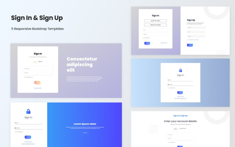 Sign In & Sign Up - Responsive Bootstrap v5 HTML Templates