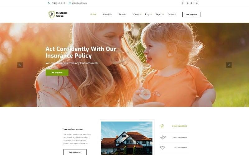 Biztosítási csoport - kifinomult biztosítási vállalat többoldalas HTML webhelysablon